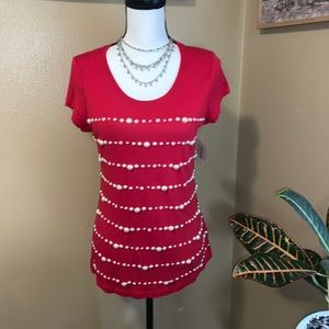 Madison S NWT Red Pearl Embellished Tee Top Classy
